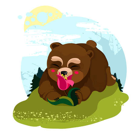 happy little bear smelling a flower in a clearing in the woods Illustration
