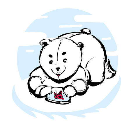 floe: merry polar bear caught a butterfly on an ice floe Illustration