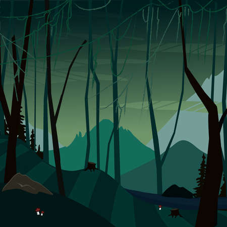 fabulous dark swamp background for childrens games Ilustração