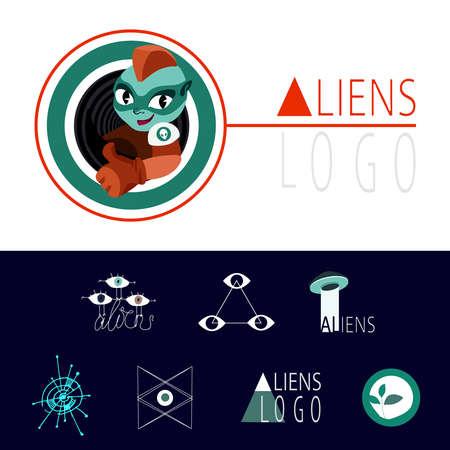 aliens: a lot of interesting logos for UFO aliens Illustration