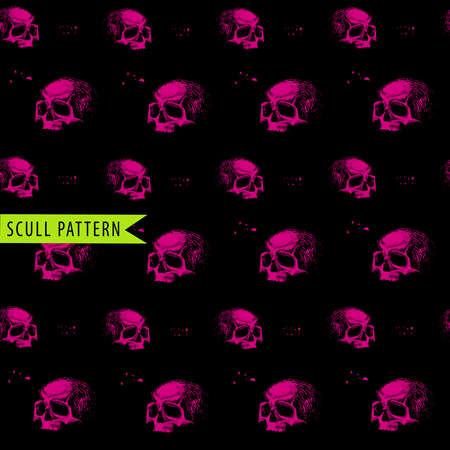 pink and black: vector illustration human pattern pink black skull
