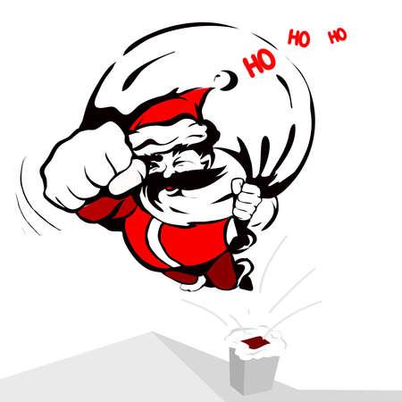 ho: cool Santa Claus flies like Superman and says ho ho ho