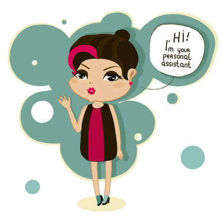assistant: cute cartoon girl says, hi, I am your personal assistant Illustration