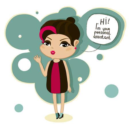 illustrate i: cute cartoon girl says, hi, I am your personal assistant Illustration