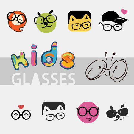 cute images: icons for the company of childrens glasses, different cute and funny images