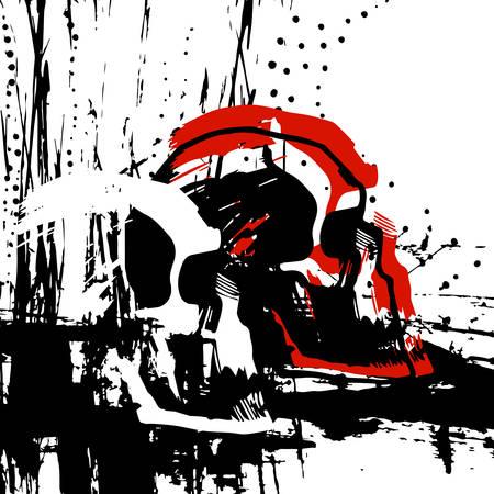 dirty t shirt: drawn skull in profile, tattoo, illustration T-shirt