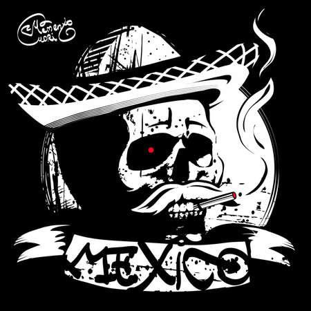 mori: Mexico, the skull in a sombrero, print T-shirt