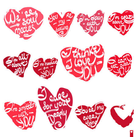 love declarations: beautiful set of hearts with the different declarations of love, lettering