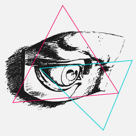 illustration for print on t-shirt of an eye sketch