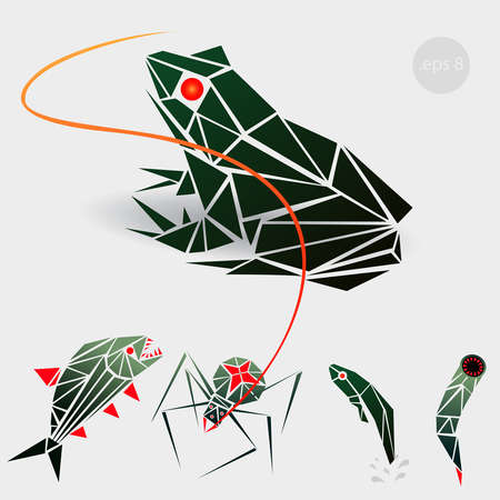 tadpole: graphics illustration of a frog, a spider, a tadpole and a leech