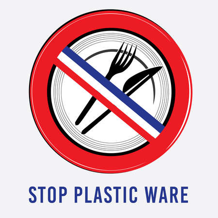 waste heap: vector plastic, dishes, bowl, knife, fork stop sign environment ban French flag Illustration