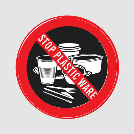to interfere: vector stop sign, ban plastic dishes, fork, knife, plate, konteynet, a cup of coffee and stick, interfere with sugar