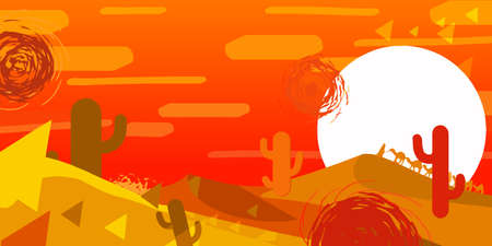 sand dunes: vector illustration of a desert, sunset, cactus, dunes, journey, background for computer game
