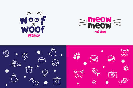 shop for animals: Vector logo, emblem, label design elements for pet shop, zoo shop, pets care and goods for animals. woof woof, meow meow, cat mustache, dog muzzle, Pet store signboard concept, bowl, bone, fish