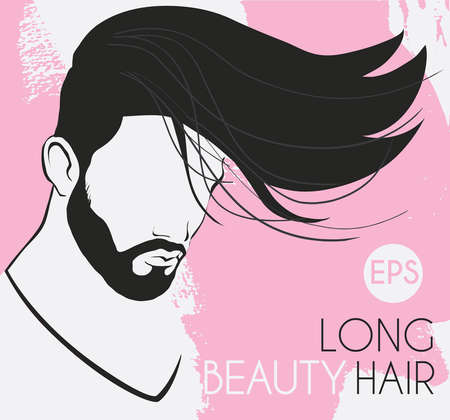 man long hair: vector portrait of a man with a beard with long hair beautiful, smooth, twisted line background is pink spots, card, business card salon, hairdressing,