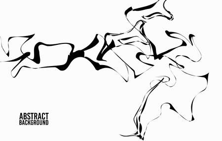 abstract vector background is graphic, imitation ink flowing lines, monochrome, weaving fibers for a card, poster, texture, decorative flyer design. Иллюстрация