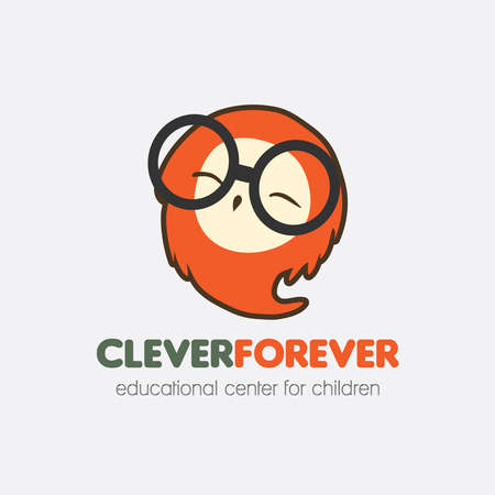 clever: vector logo, smart Happy cute stylized owl, education for children, a clever slogan for all, education, knowledge, logo for company training children.