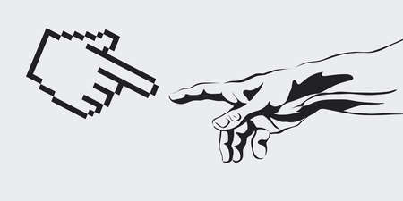 reaches: vector concept of the creation of the Internet, virtual reality, artificial intelligence, Artificial Intelligence concept copy space area. human hand reaches for a computer hand.