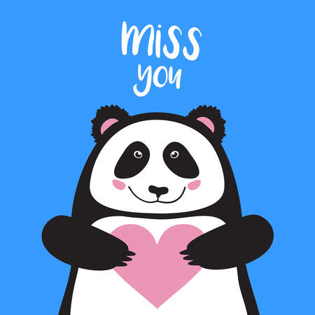 vector card, banner lettering letters I miss you, cartoon panda holding heart and smiling, saying emotions, feelings, print on T-shirt.