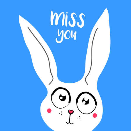 vector card, banner lettering letters I miss you, cartoon bunny with sad eyes, saying emotions, feelings, print on T-shirt. Illustration