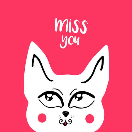 i miss you: vector card, banner lettering letters I miss you, cute cartoon cat with a thoughtful look, saying emotions, feelings, print on T-shirt. Illustration