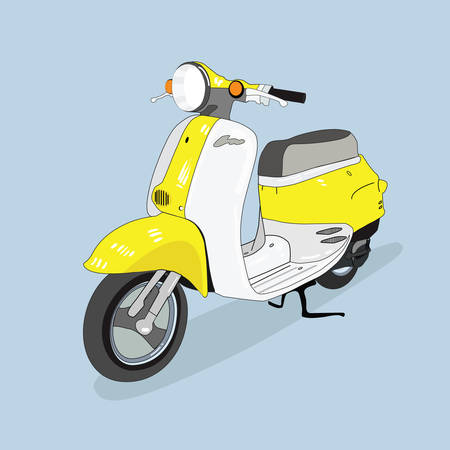 Yellow-white retro scooter vector drawn in perspective, isolated from the background.