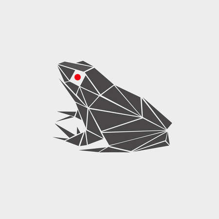 red eyes: stylized vector illustration of a frog, toad polygonal, monochrome, red eyes. logo, icon, sign, symbol, flat painted in perspective