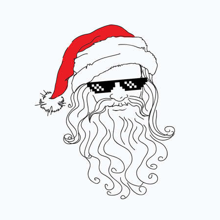 steep: Santa Claus funny portrait in red hat in a steep pixel Black Sunglasses.cool father christmas. Merry X-mas. Concept sketch, fine flat line. Vector illustration isolated on the backgrounds,