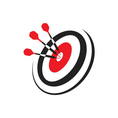 Target with three darts, using dart in the bullseye on dartboard business success concept,Goal setting and SMART,icon, symbol,logo,vector illustration on isolated white background Vectores
