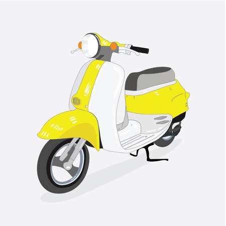 retro scooter isolated from the background, drawn in perspective, vector