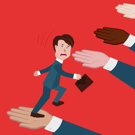 concept of business collapse, team collapsed, deception,colleagues or partners did not help,no support,businessman goes up and falls down.there is no solidarity,loss of confidence.vector illustration