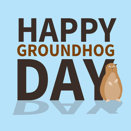 Happy groundhog day.logo,icon,cute groundhog is scared of his shadow,perfect for greeting cards,invitations,posters,prints on T-shirt,wish text, vector illustration, isolated on a blue background