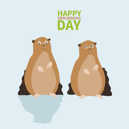 Happy groundhog day.logo, icon,two Marmot,one scared shadow other happy,perfect for greeting cards,invitations,posters,prints on T-shirt, wish text, vector illustration, isolated on a white background