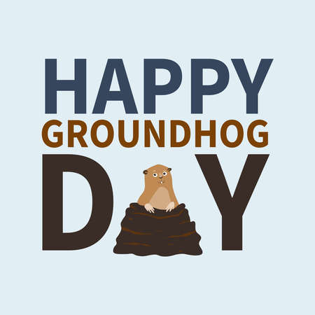 burrows: Happy groundhog day. , icon,cute happy Marmot emerged from burrows,perfect for greeting cards, invitations,posters, prints on T-shirt, wish text, vector illustration, isolated on a white background Stock Photo