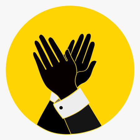 acclaim: Applause, Clapping Hands Icon. Acclaim sign.black, yellow colors. vintage Applaud Expression symbol. flat style button. vector illustration isolated on white background Illustration