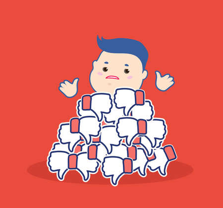 Dislike it concept.Thumbs down symbols.Unhappy cartoon man brush aside the hill red buttons hand dislike.Flat design for social networking,blogging.Disapproval,customers feedback. vector illustration