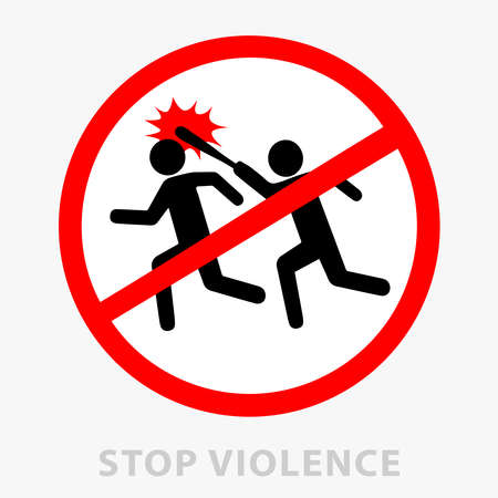 Sign stop violence. One symbolically drawn person catches up and beats another with a stick. Can be used as a print or as a sticker. Flat style. Vector illustration isolated from background.