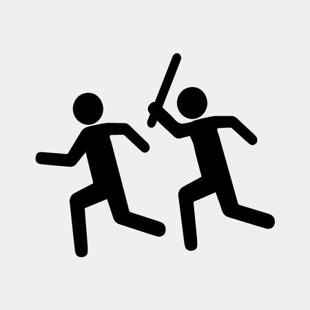 Sign stop violence. One symbolically man runs after another with a stick for the purpose of attack. Flat design. Suitable for print or sticker. Vector illustration isolated from background.