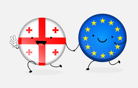 Icon flag of Georgia and the European Union. Two cartoon flags hold together by the hand. Messedge cooperation, friendship, union, visa-free regime. Vector illustration isolated from background. Illustration