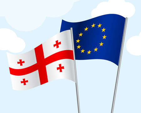 flag of Georgia and the European Union develop in the wind on a blue sky background with clouds. Concept cooperation, friendship, union, visa-free regime. Vector illustration. 3D style