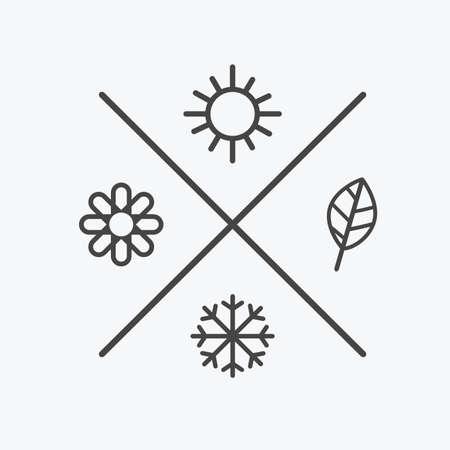 Vector set four seasons icons.