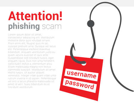 Attention phishing scam icon. Warning poster that your computer is trying hack and steal your personal data. Be vigilant and careful. Vector isolated illustration. Hand draw concept. Illusztráció