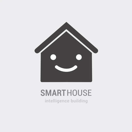 Conceptual vision of smart house vector icon. Intelligence building consulting and managed services. Isolated hand drawn illustration. Use as logo sticker web application project symbol poster banner
