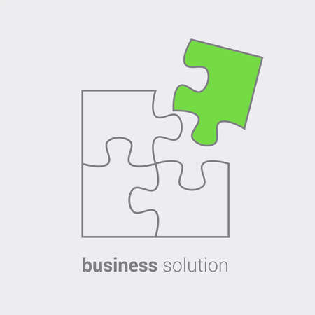 Puzzle as reflection of conceptual vision of combining solutions for business.Use as emblem icon sticker symbol banner poster advertising sign. Vector isolated hand draw illustration.