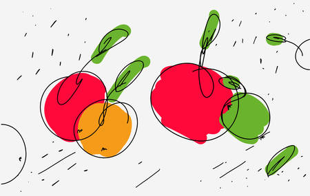 Vector sketch of apples in eclectic style. Light thin lines and curls with colored accents on apple. Use as icon sticker sketch stencil kitchen design on kitchen apron. Vector isolated. Hand drawn.