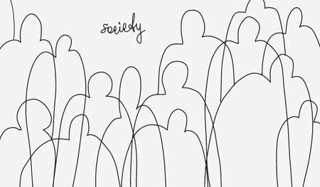 Minimalistic sketch on theme of society.