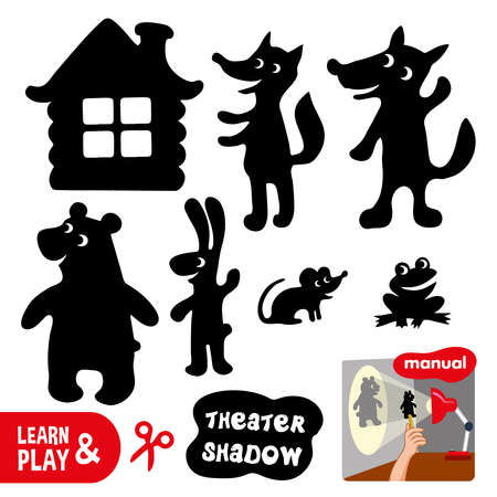 Shadow theater. Use scissors cut contour of animals and house turn on lamp and play using cut shapes.