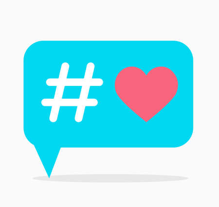 Love hashtag. Blue dialog box with hashtag and red heart inside. Use as print on T-shirt and other clothes emoji veiled declaration of love on postcard. Vector isolated illustration. Hand-drawn