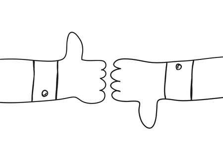 two outline cartoon hands showing thumb up and thumb down. Positive and negative feedback good bad gestures like unlike two side of choice. Outline vector illustration isolated on white background Illustration