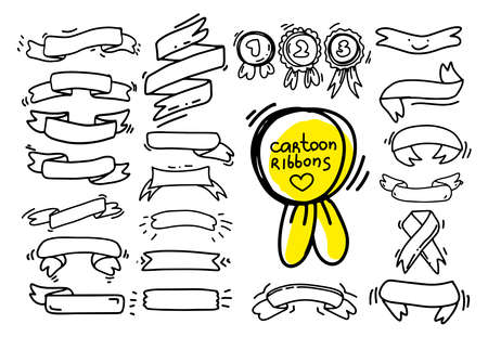 Collection of ribbons drawing in cartoon style. Vector set in minimalist black and white color. Use as banner poster emblem. Editable paint with different colors and place inside text. Hand draw. Vettoriali